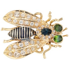 2.50 Carat Sapphire Diamond Enamel Yellow Gold Three Dimensional Fly Brooch