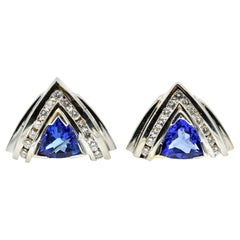 2.50 Carat Tanzanite and Diamond Earrings 14 Karat White Gold