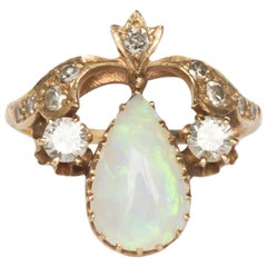 2.50 Carat Total Weight Opal Yellow Gold Engagement Ring
