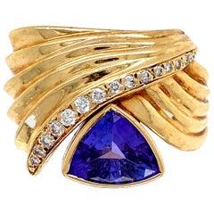 2.50 Carat Trillion Tanzanite and Diamond Gold Cocktail Ring Estate Fine Jewelry