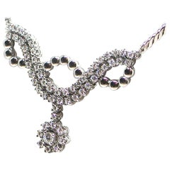 2.50 Carat Vintage White Gold Diamond Necklace