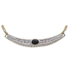 2.50 Carat Vintage Yellow White Gold Diamond Sapphire Necklace