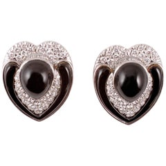 2.50 Carat White Gold Onyx Earrings