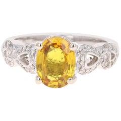 2.50 Carat Yellow Sapphire and Diamond 14 Karat Yellow Gold Ring