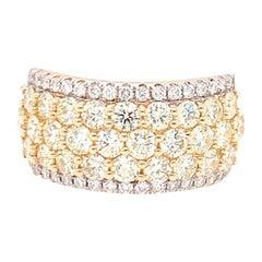 2.50 Carat Yellow & White Diamond Band Ring in 14k Yellow Gold