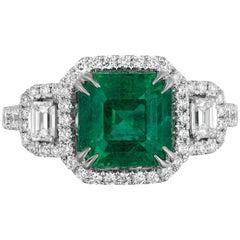 2.50 Carat Zambian Emerald Diamond Cocktail Ring
