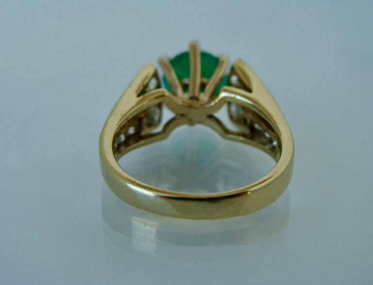 2.50 Carat Natural Round Colombian Emerald Solitaire Ring Diamond Accents 14K For Sale 1