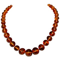 250 Ct Natural Amber Single Strand Graduating Bead Necklace with 18K Gold Clasp