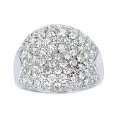 2.50 Cts. Diamond Bombe Cocktail Ring, 18k White Gold