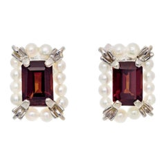 2.50 Garnet Cultured Pearl White Gold Earrings