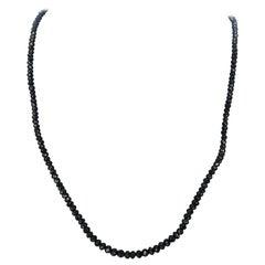 25.00 Carat Black Diamond Briolette Bead Necklace in 18 Karat White Gold