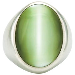25.00 Carat Platinum GIA Cat's Eye Chrysoberyl Oval Stone Signet Ring