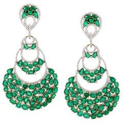 25.04 Carat Emerald Diamond 18 Karat Yellow Gold Chandelier Earring