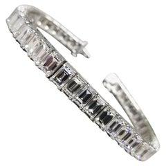 "25.05 Carat Emerald Cut Diamond Platinum ""Vintage"" Graduating Tennis Bracelet"