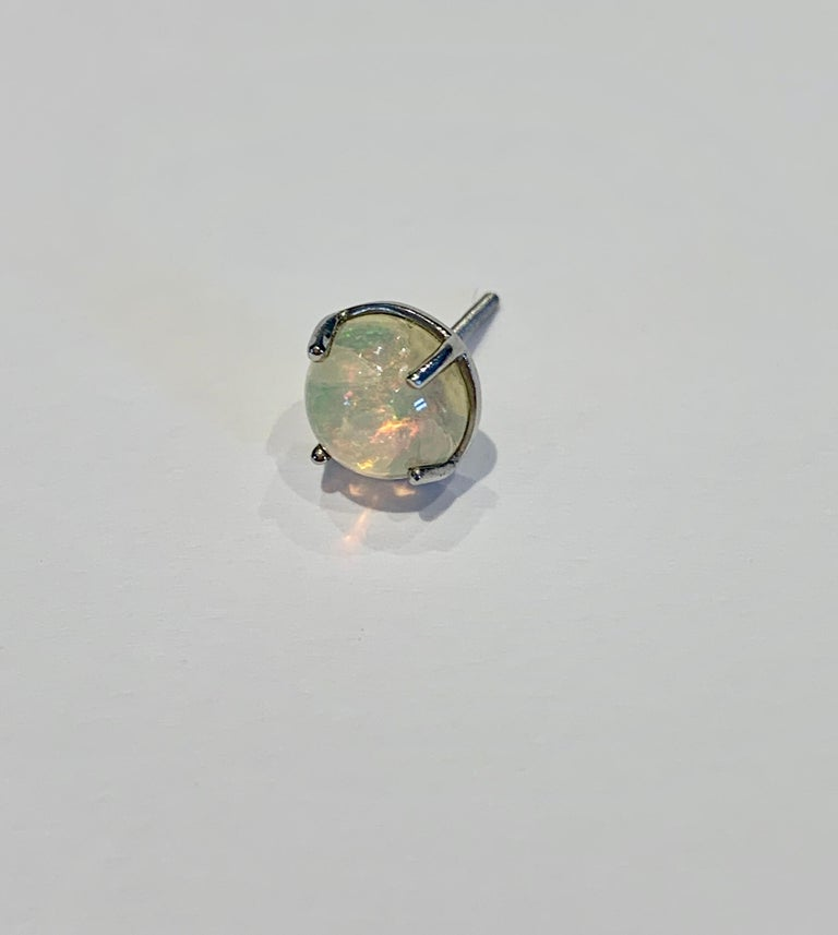 2.50 Carat AAAA Round Welo Opal Stud Earrings Set in Platinum For Sale 4