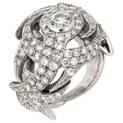 2.50 Carat Diamond Dome Cocktail Ring Vintage 18 Karat Gold Estate Fine Jewelry