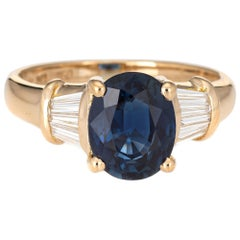 2.50 Carat Sapphire Diamond Gemstone Ring Vintage 18 Karat Yellow Gold Jewelry