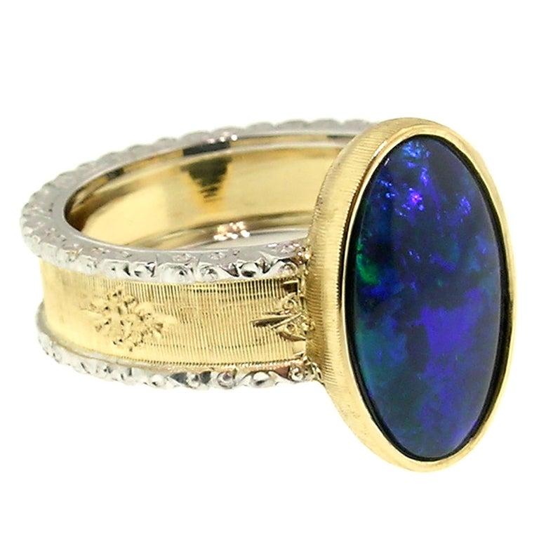 2.51 Carat Australian Black Opal in 18 Karat Hand Engraved Italian Ring In New Condition For Sale In Lynchburg, VA