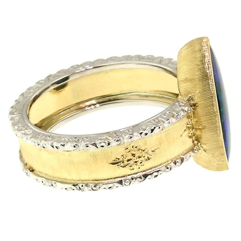 Women's 2.51 Carat Australian Black Opal in 18 Karat Hand Engraved Italian Ring For Sale
