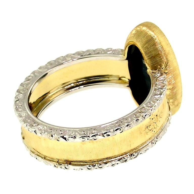 2.51 Carat Australian Black Opal in 18 Karat Hand Engraved Italian Ring For Sale 1