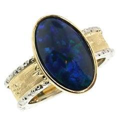 2.51 Carat Australian Black Opal in 18 Karat Hand Engraved Italian Ring