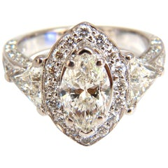 2.51 Carat Marquise Halo Diamond Ring 14 Karat