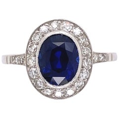 2.51 Carat No Heat Ceylon Sapphire Diamond Platinum Ring Estate Fine Jewelry