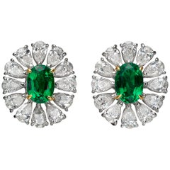 2.51 Carat Oval Emerald Pear-Shape Diamond 18 Karat White Gold Stud Earrings