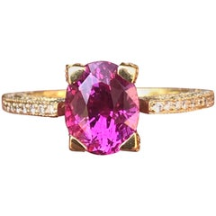 2.51 Carat Oval Natural Fancy Pink Sapphire and Diamond 18 Karat Gold Ring