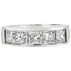 2.51 Carat Princess Cut Diamond Channel Set Five-Stone Wedding Band