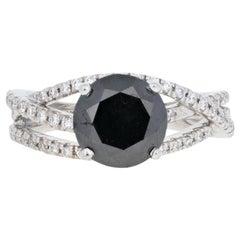 2.51 Carat Round Cut Black and White Diamond Ring, 14 Karat Gold Women's