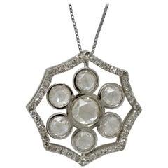 2.51 Carat White Rose Cut Diamond Necklace in 18 Karat White Gold