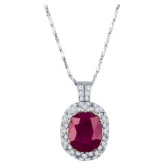25.16 Carat Burmese Ruby Set on Platinum Necklace, AGL Gemstone Report