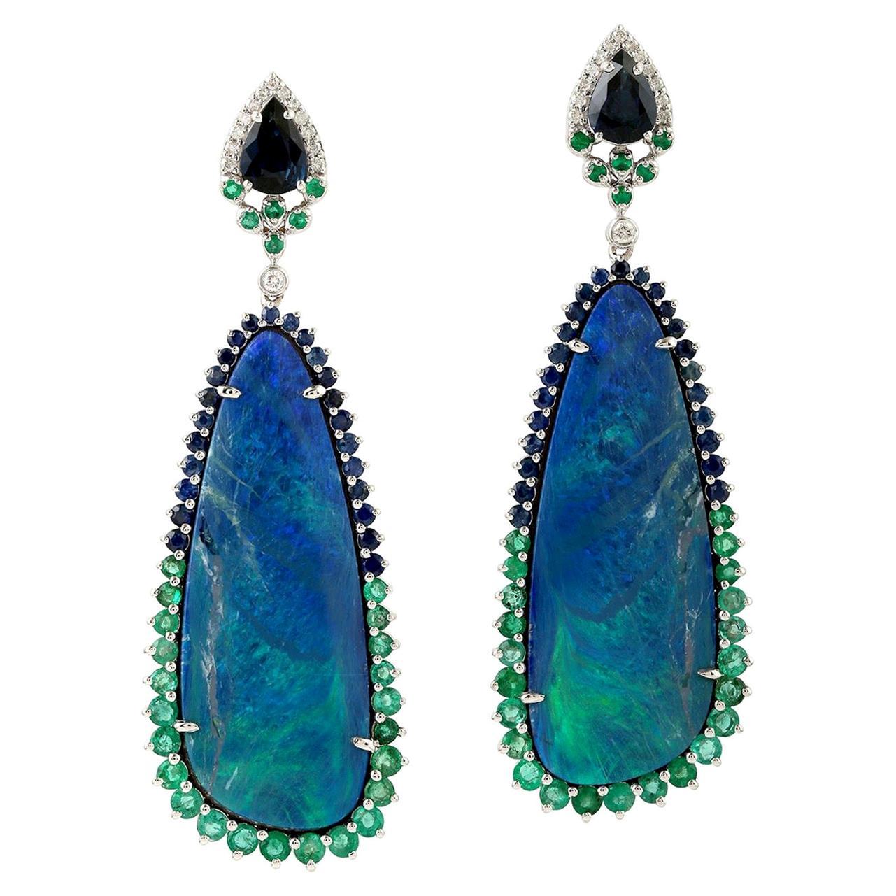 25.18 Carat Opal Emerald Diamond 18 Karat Gold Earrings