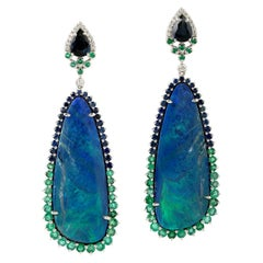 25.18 Carat Opal Emerald Diamond 18 Karat Gold Earrings