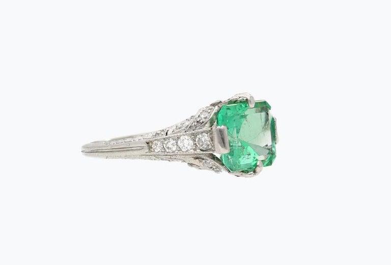 Details: ✔Era: Art Deco ✔Size: 7 US ✔Metal: Platinum ✔Gemstone: Emerald ✔Gem color: Green ✔ Setting: Platinum PT900 ✔ Emerald Weight: 2.52 carats ✔ Emerald Cut: Emerald ✔ Emerald Origin: Colombia  ✔ 8 Round, Old cut diamonds ✔ Diamonds: 8 Old-Mine