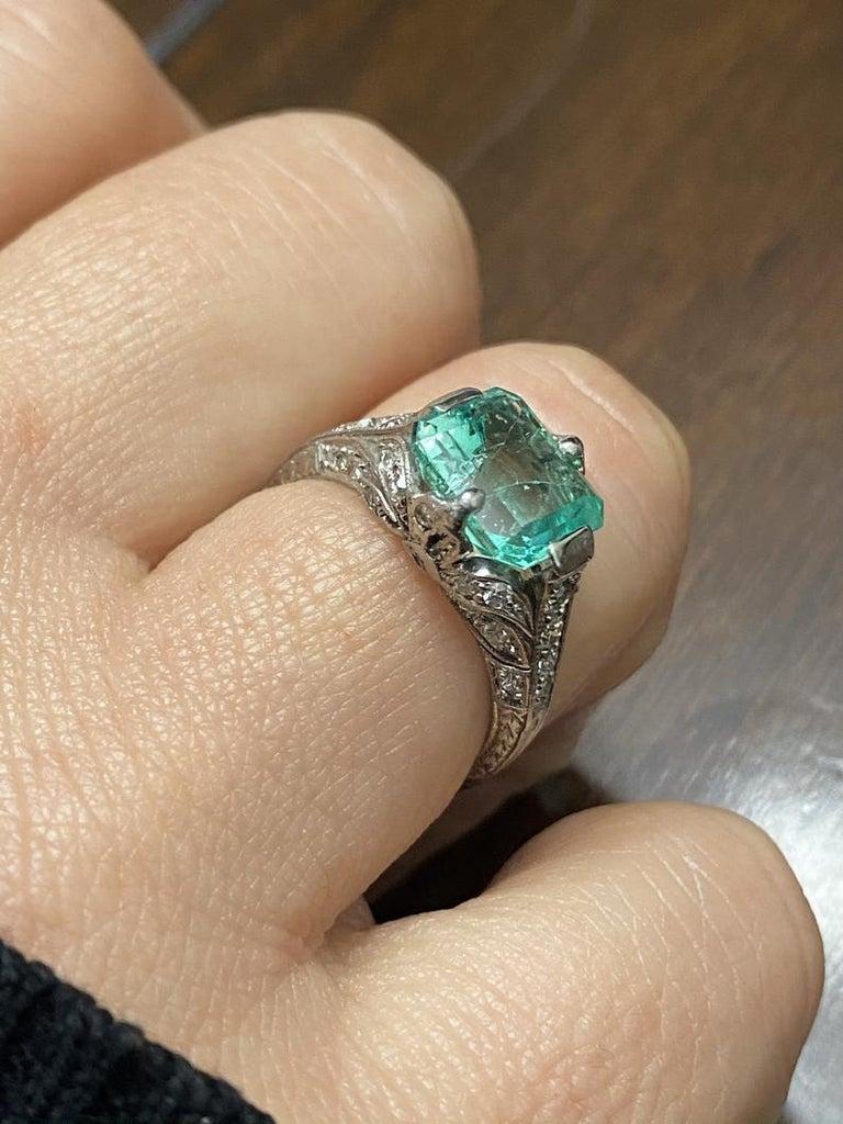 Emerald Cut 2.52 Carat Art Deco Colombian Emerald and Diamond Engagement Ring