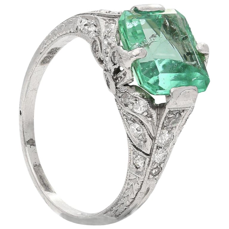 2.52 Carat Art Deco Colombian Emerald and Diamond Engagement Ring