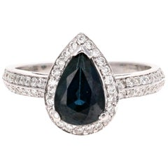 Blue Sapphire Diamond 2.52 Carat Engagement Ring