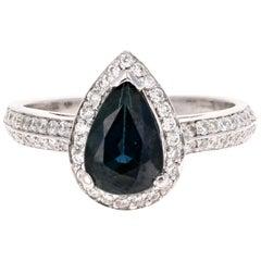 2.52 Carat Blue Sapphire Diamond 14 Karat White Gold Ring