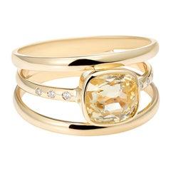 2.52 Carat Cushion Cut Yellow Sapphire, No Heat, Diamond 3-Band Ring
