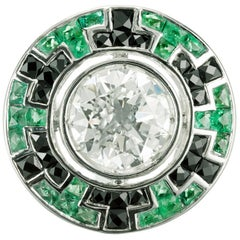 2.52 Carat Diamond Emerald Onyx Platinum Engagement Ring