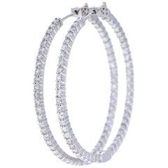 2.52 Carat Diamond Hoop Earrings 14 Karat White Gold