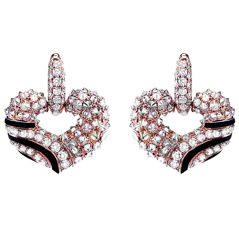 2.52 Carat Diamond Onyx Party Wear Art Deco Style Dangle Earring