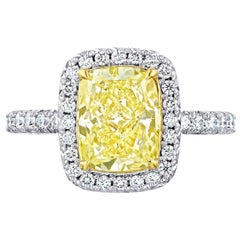 2.52 Carat GIA Certified Conflict Free Cushion Cut Diamond Halo in 18 Karat