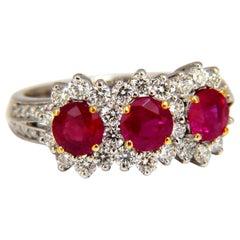 2.52 Carat Natural Vivid Red Ruby Diamonds Ring 14 Karat Three-Stone Halo Class