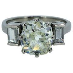 2.52 Carat Old European Cut Diamond, 0.52 Carat Baguette Diamond 3-Stone Ring