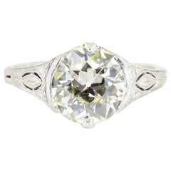 2.52 Carat Old European Cut Diamond Platinum Ring