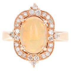 2.52 Carat Opal Diamond 14 Karat Rose Gold Ring