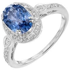 2.52 Carat Oval Ceylon Sapphire Diamond Halo White Gold Engagement Ring
